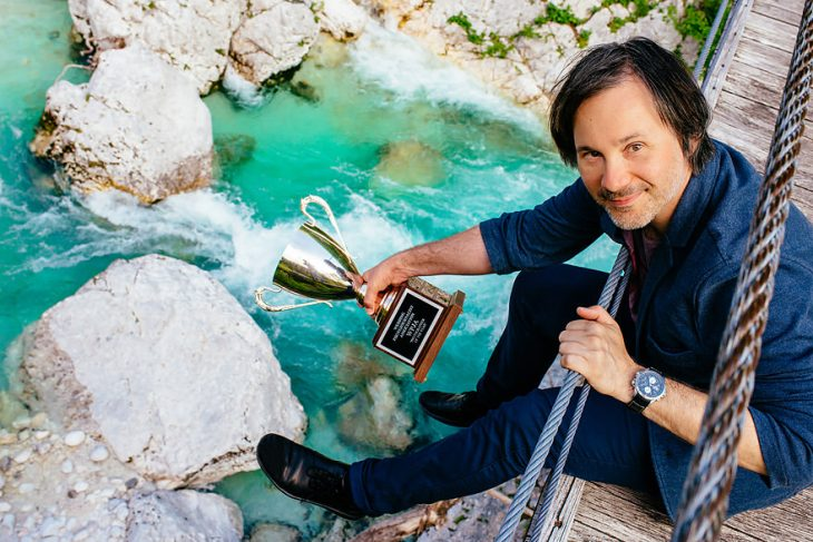 Destination wedding photographer Samo Rovan with his WPJA Photographer of the year POY 2015 travel trophy at Soca.